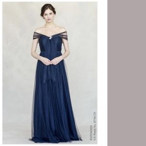 Dessy Group Navy Tulle Bridesmaid Dress